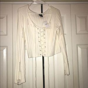 White Distressed Sweater